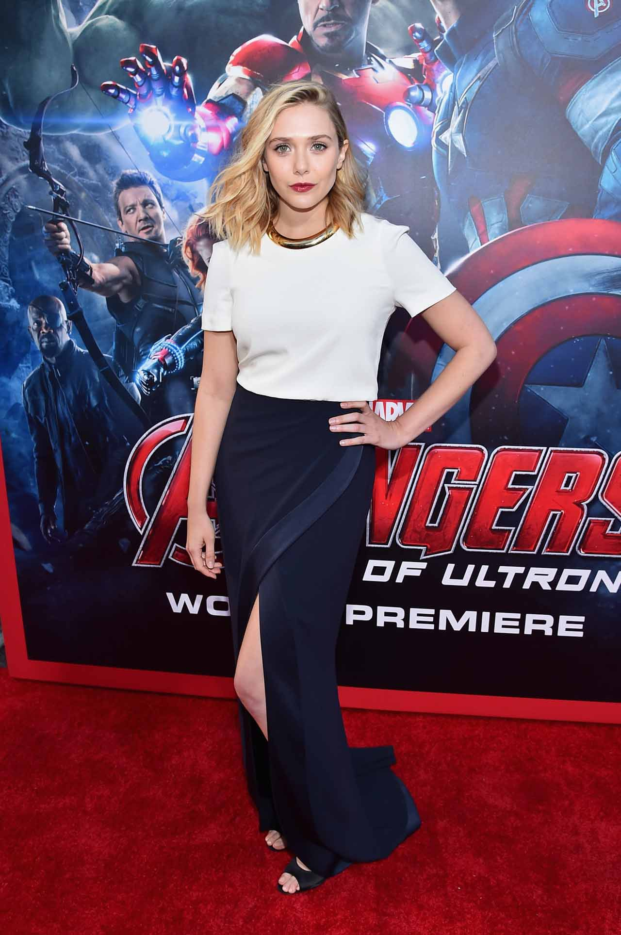 "HOLLYWOOD, CA - APRIL 13: Actress Elizabeth Olsen attends the world premiere of Marvel's ""Avengers: Age Of Ultron"" at the Dolby Theatre on April 13, 2015 in Hollywood, California. (Photo by Alberto E. Rodriguez/Getty Images for Disney) *** Local Caption *** Elizabeth Olsen"